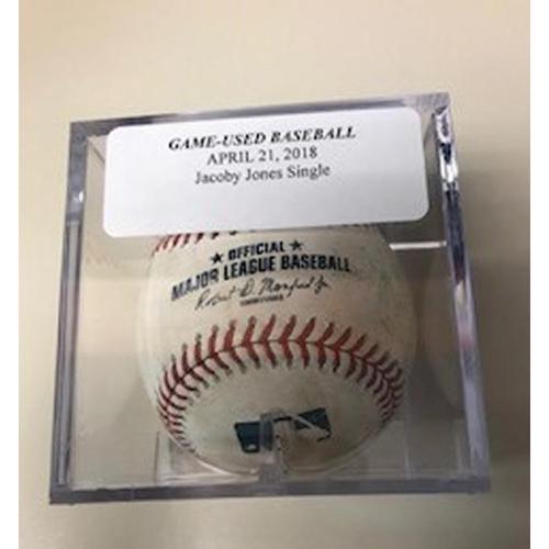 Photo of Game-Used Baseball: JaCoby Jones Reaches on Error