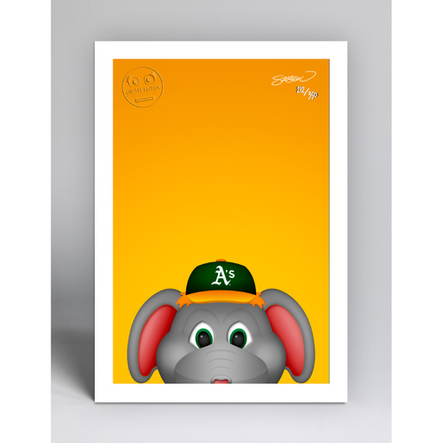 Photo of Stomper - Limited Edition Minimalist Mascot Art Print by S. Preston  - Oakland Athletics