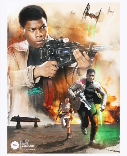 John Boyega as Resistance Hero Finn 16x20 Autographed in Green Ink Photo Collage