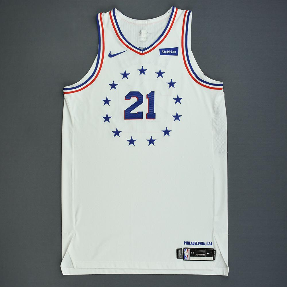Joel Embiid - Philadelphia 76ers - Christmas Day' 18 - Game-Worn 2nd Half Earned City Edition Jersey - Double-Double