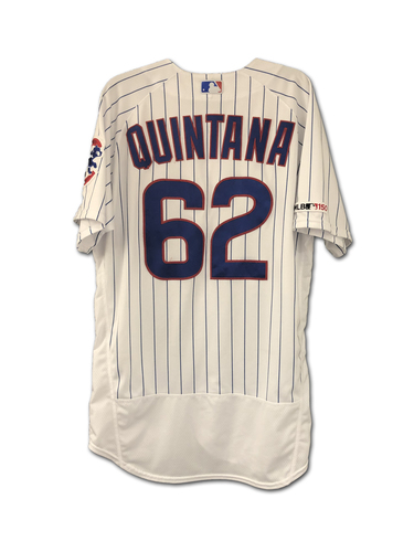 Photo of Jose Quintana Game-Used Jersey -- Quintana 10th Win (7 IP, 1 ER, 7 K) -- Athletics vs. Cubs -- 8/7/19