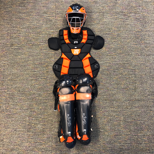 Photo of Buster Posey BP28 Foundation - 2019 Game Used & Autographed Catchers Gear used & signed by #28 Buster Posey on 3/26 vs. OAK (Spring Training) - Autographs are on the mask and shin guards