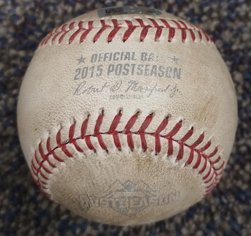 Photo of Authenticated Game Used Postseason Baseball - Foul by Ben Revere against Edinson Volquez (ALCS Game 5: Oct 21, 15 vs KCR). Bottom 6.