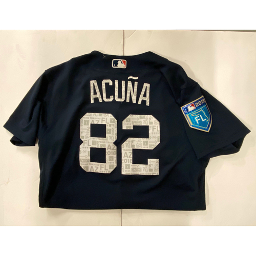 Photo of Ronald Acuna, Jr. 2018 Game Used Spring Training Jersey - Worn 3/3/2018 - NL Rookie of the Year