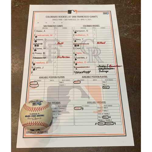 Photo of 2021 Game Used Baseball & Giants Dugout Lineup Card  from 4/9 vs. COL - Home Opener - Giants Win 3-1, Johnny Cueto - 8.2 IP, Win #1 of 2021, 7 K's, 1 ER - Game Used Baseball -  T-6: Cueto to Gomber - Strike Out on Foul Bunt