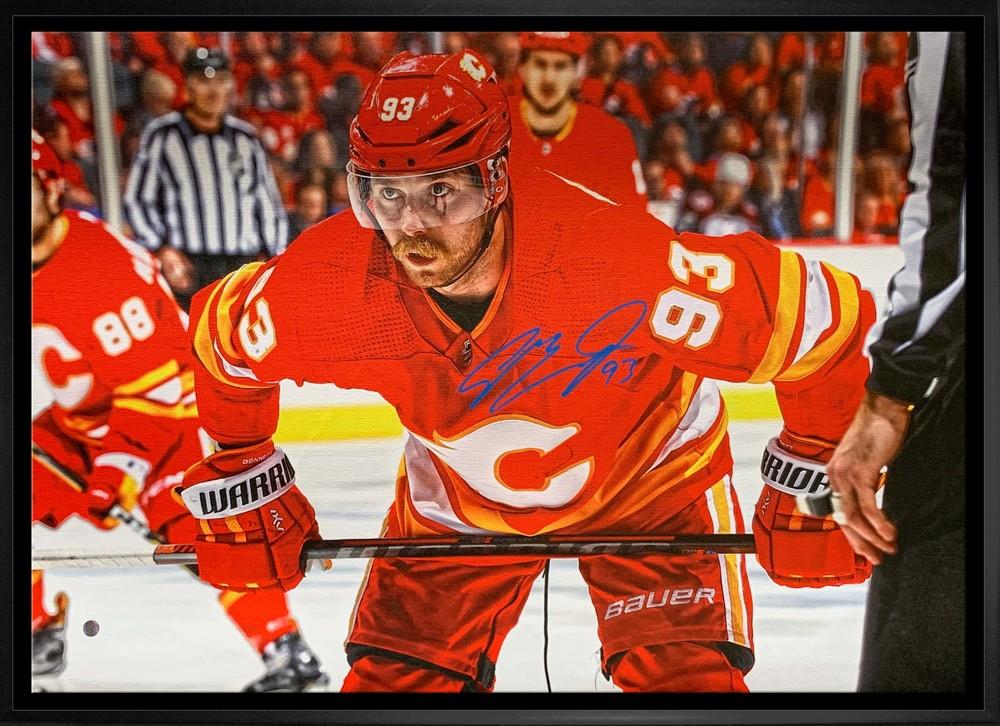 Sam Bennett Signed 20x29 Canvas Framed Flames Faceoff