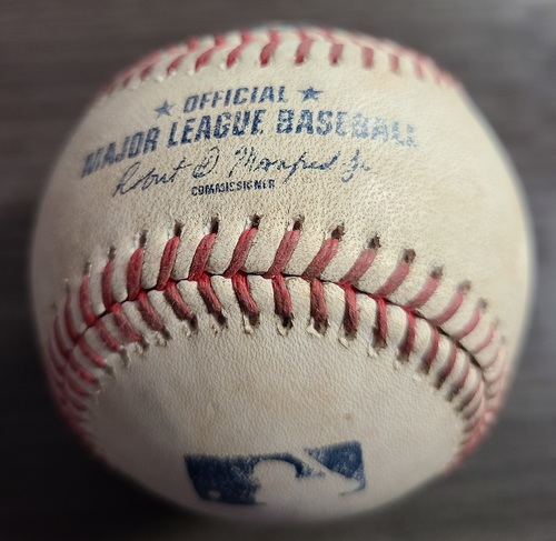 Photo of Authenticated Game Used Baseball: Single by Jarren Duran against Hyun Jin Ryu (Aug 8, 2021 vs BOS). Top 4.