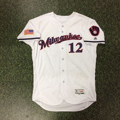 Photo of Stephen Vogt Team-Issued 2018 Stars & Stripes Jersey