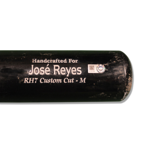 Photo of Jose Reyes #7 - Game Used Cracked Black Marucci Bat - Mets vs. Phillies - 7/10/18