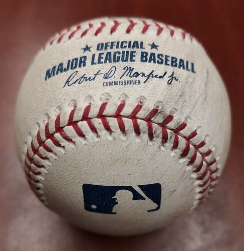 Photo of Authenticated Game Used Baseball - Double by Yoan Moncada against Daniel Hudson (May 10, 2019 vs CWS). Top 1.