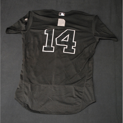 """Photo of Tony """"(Paper Emoji)"""" Wolters Colorado Rockies Game-Used 2019 Players' Weekend Jersey"""