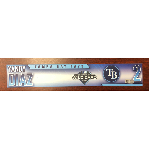 Photo of Game Used A.L. Wild Card Locker Tag: Yandy Diaz - 2-HR Game