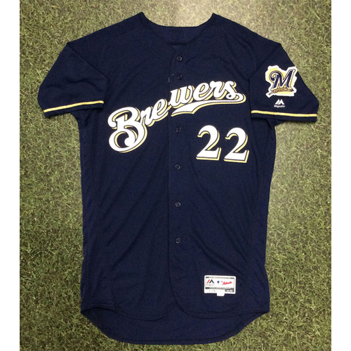 Photo of Christian Yelich 2018 Team-Issued Navy Alternate Jersey