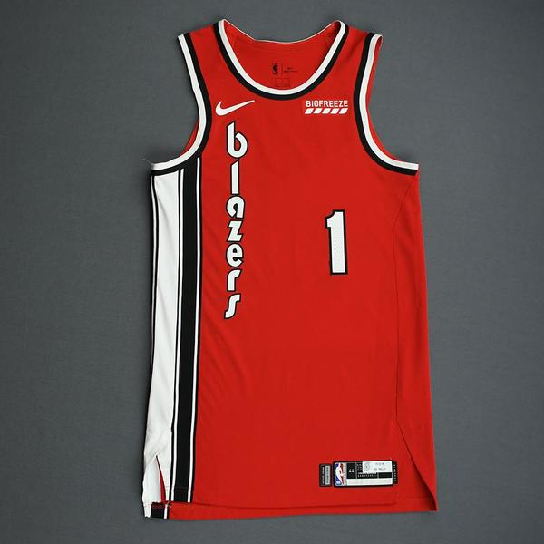 Image of Anfernee Simons - Portland Trail Blazers - Game-Worn Classic Edition 1975-77 Road Jersey - 2019-20 NBA Season