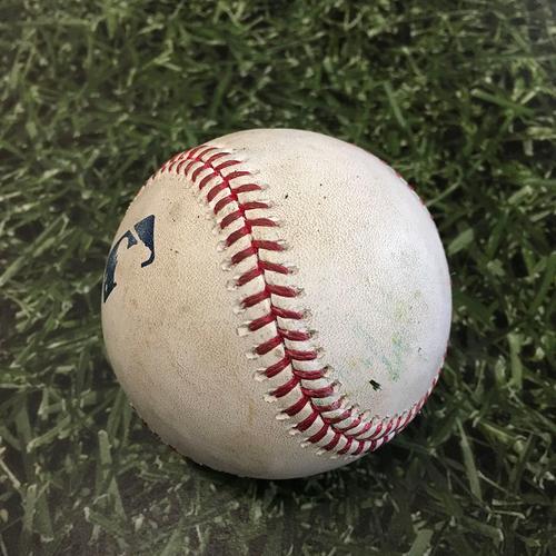 Game-Used Baseball MIN@MIL 04/03/21 - Jose Berrios - Omar Narvaez: Groundout
