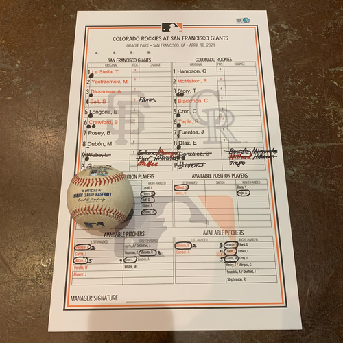 Photo of 2021 Game Used Baseball & Giants Dugout Lineup Card from 4/10 vs. COL - Giants Win 4-3 - Game Used Baseball - T-1: Webb to Story - Foul Ball