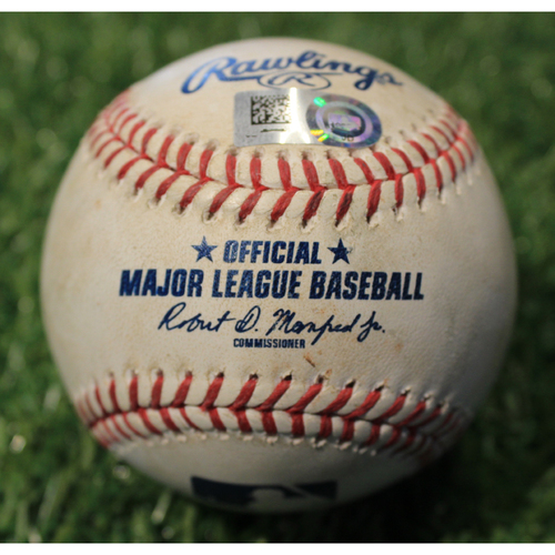 Photo of Game-Used 2019 Baseball: Merrifield Single to Extend Hitting Streak to 29 Games (SEA@KC 4/8/19)