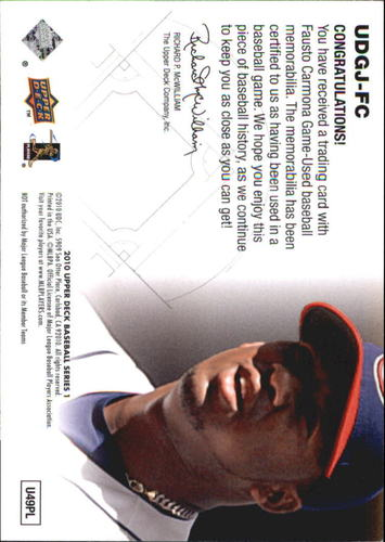 Photo of 2010 Upper Deck UD Game Jersey #FC Fausto Carmona