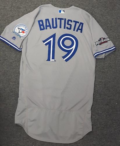 Authenticated Team Issued 2016 Postseason Jersey - #19 Jose Bautista