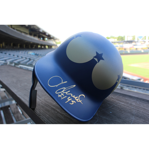 Photo of Team Issued and Autographed Turn Ahead The Clock Batting Helmet: Abraham Almonte (Size 7 1/4  - KC @ SEA - 6/30/18)