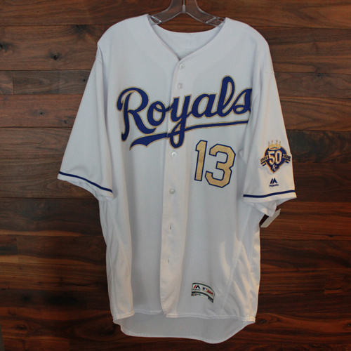 Photo of Game-Used Jersey: Salvador Perez 177th Career Double, 942nd Career Hit and 503rd Career RBI (Size 48 - CLE @ KC - 9/28/18)