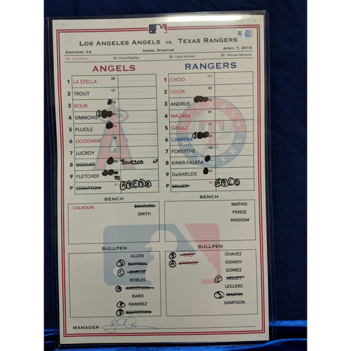 Game Used Lineup Card - Rangers vs. Angels - 4/7/19 (Trout HR in 4 straight games)