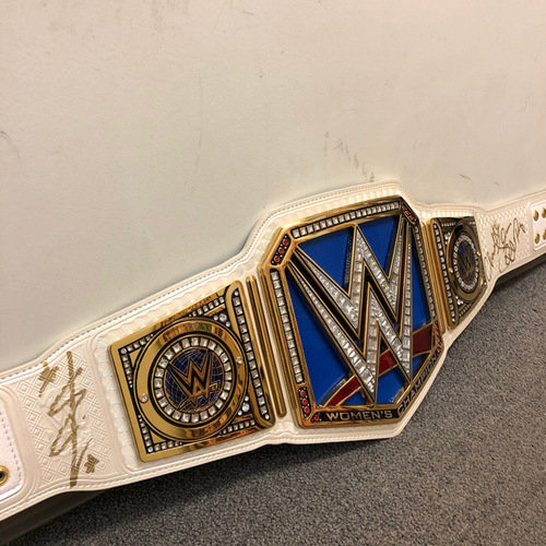 Photo of Ronda Rousey, Becky Lynch, & Charlotte Flair SIGNGED SmackDown Women's Championship Replica Title