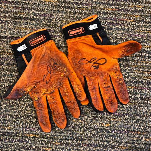 Photo of Pablo Sandoval Foundation - 2019 Autographed Team Issued Batting Gloves signed by #48 Pablo Sandoval
