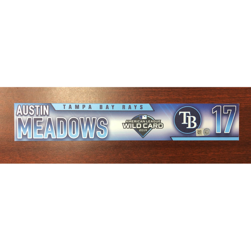 Photo of Game Used A.L. Wild Card Locker Tag: Austin Meadows - First Career Post Season Game