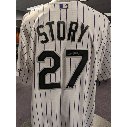 Photo of Colorado Rockies Autographed Home White Jersey: Trevor Story