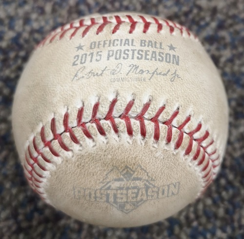 Photo of Authenticated Game Used Postseason Baseball - Foul by Dioner Navarro against Kelvin Herrera (ALCS Game 5: Oct 21, 15 vs KCR). Bottom 6.