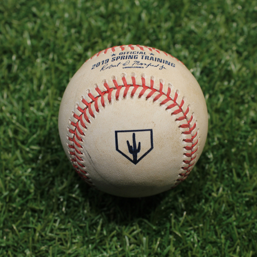 Photo of Game-Used Baseball: Schwindel - Foul (KC @ OMA 3/25/19)