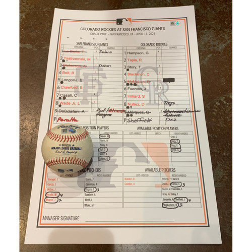 Photo of 2021 Game Used Baseball & Giants Dugout Lineup Card from 4/11 vs. COL - Giants Win 4-0 & Sweep the Colorado Rockies - Game Used Baseball - T-4: DeSclafani to Hilliard - Strike Out Looking