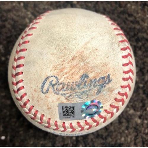 2021 Game Used Baseball - 4/28/2021 SDP @ AZ - Pitcher: J.B. Bukauskas, Batters: Tommy Pham (Single), Fernando Tatis Jr. (Single), Trent Grisham (Single), Manny Machado (Triple, 3 RBI)