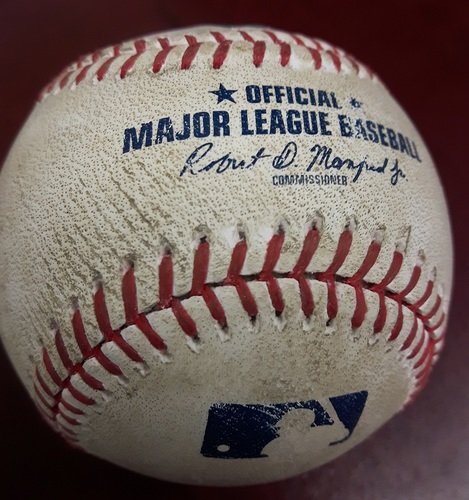 Photo of Authenticated Player Collected Baseball - Home Run by Steve Pearce vs Robby Scott on July 1, 2017 (Bottom 9). HR #6 of the Season.