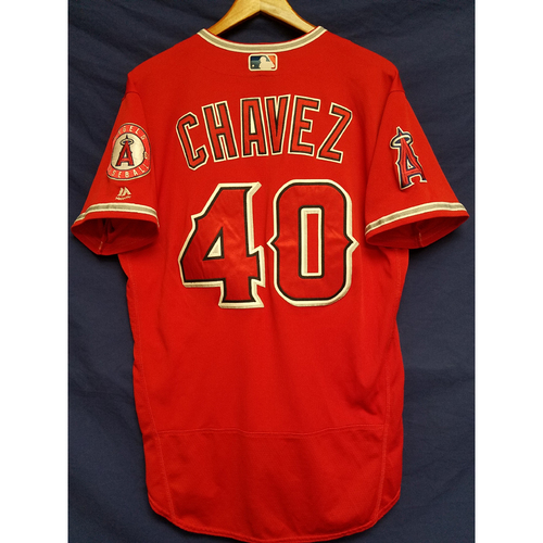 Photo of Jesse Chavez Alternate Red Game-Used Jersey - 1st Win of 2017