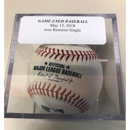 Photo of Game-Used Baseball: Jose Ramirez and Michael Brantley Single