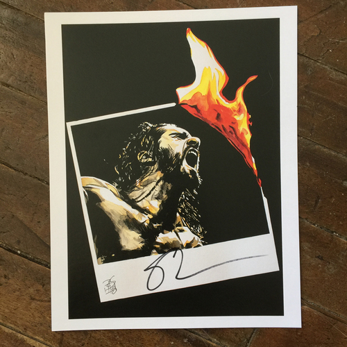 Photo of Seth Rollins SIGNED 11 x 14 Rob Schamberger Print (July 2018)