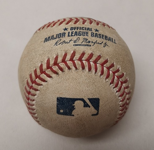 Photo of Authenticated Game Used Baseball - Brandon Guyer 3 RBI Double against Dominic Leone (May 10, 2017 vs CLE). Top 3.