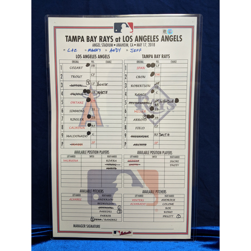 Photo of Game Used Lineup Card - Rays vs. Angels - 5/17/18 (Ohtani HR Game)