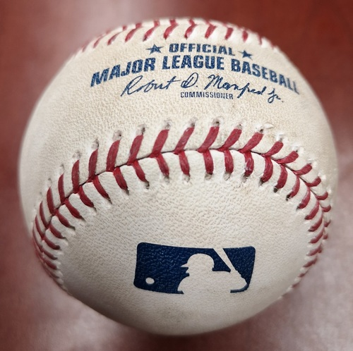 Photo of Authenticated Game Used Baseball - RBI Double by Jose Abreu against Daniel Hudson (May 10, 2019 vs CWS). Top 1.