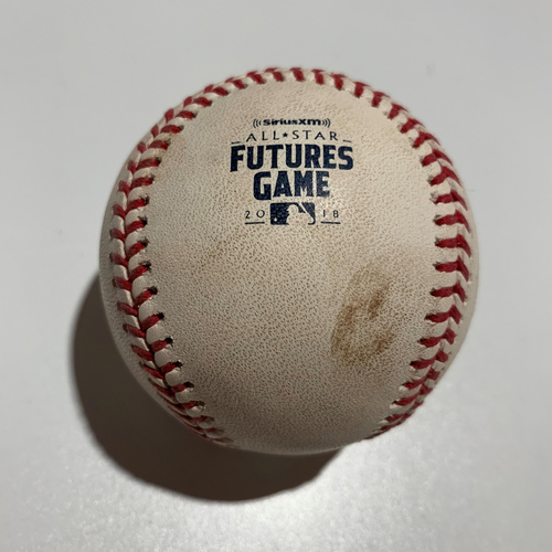 Photo of 2018 All-Star Futures Game - Game Used Baseball - Batter: Pete Alonso Pitcher: Adonis Medina- Foul