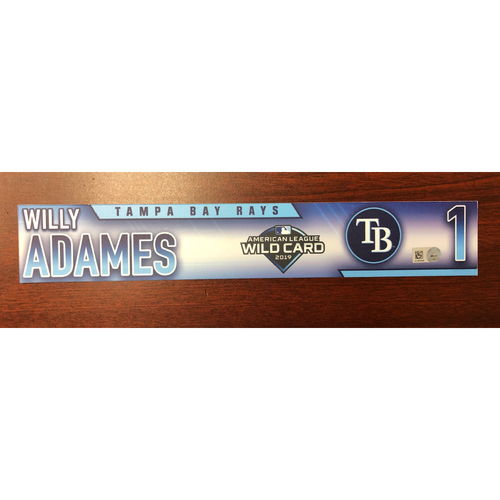 Photo of Game Used A.L. Wild Card Locker Tag: Willy Adames -  First Career Post Season Game