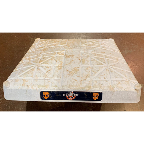 Photo of 2021 Game Used Opening Day Base used on 4/9/ vs. COL - 1st Base from Innings 7-9