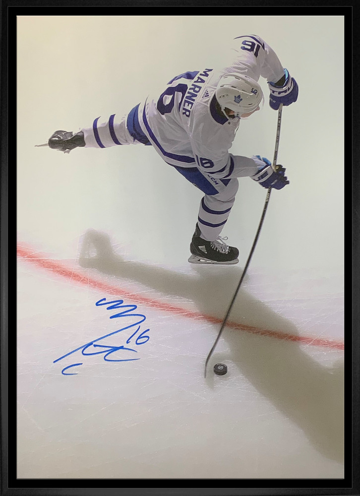 Mitch Marner Signed 20x29 Canvas Framed Toronto Maple Leafs Overhead White