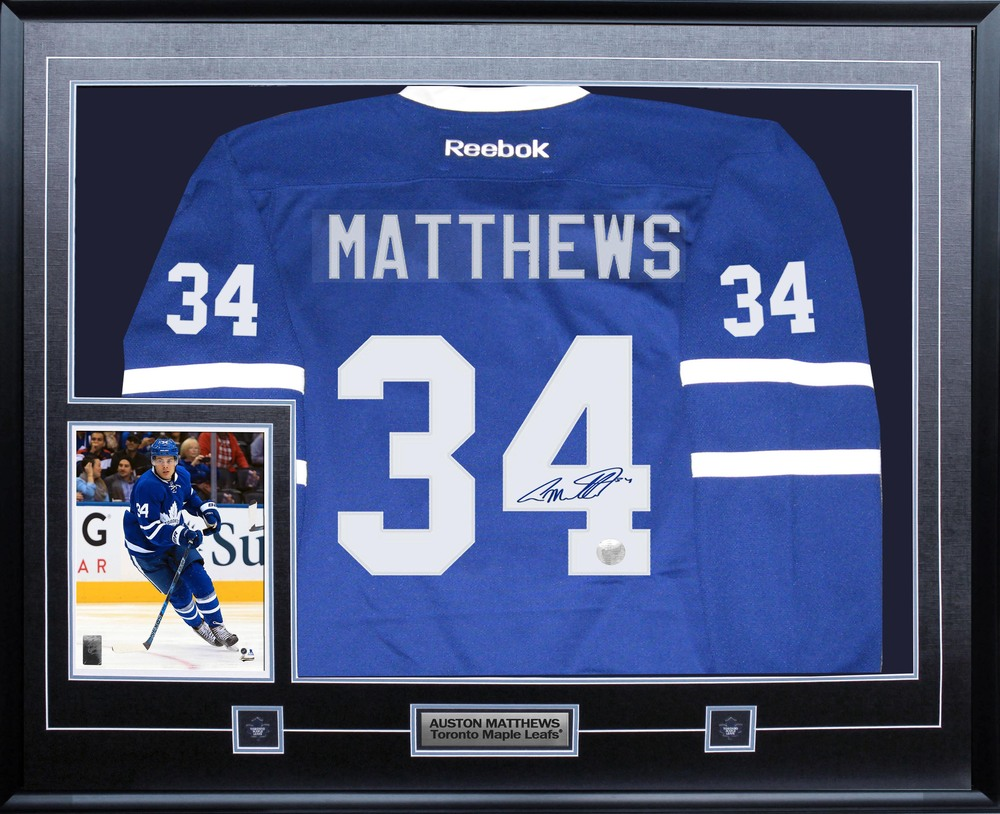 Auston Matthews - Signed & Framed Toronto Maple Leafs Blue Jersey Featuring 8x10