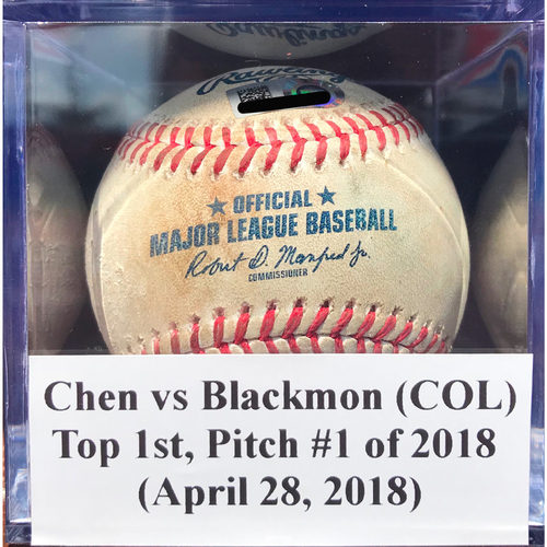 Photo of Game-Used Baseball: Chen vs Blackmon (COL), Top 1st, Pitch #1 of 2018 (April 28, 2018)