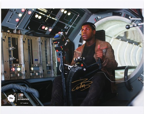 John Boyega as Finn 16x20 Autographed in Gold Ink Photo in the Gunner Position on the Millennium Falcon