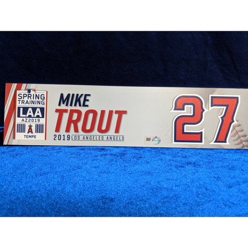 Photo of Mike Trout Team-Issued 2019 Spring Training Locker Tag