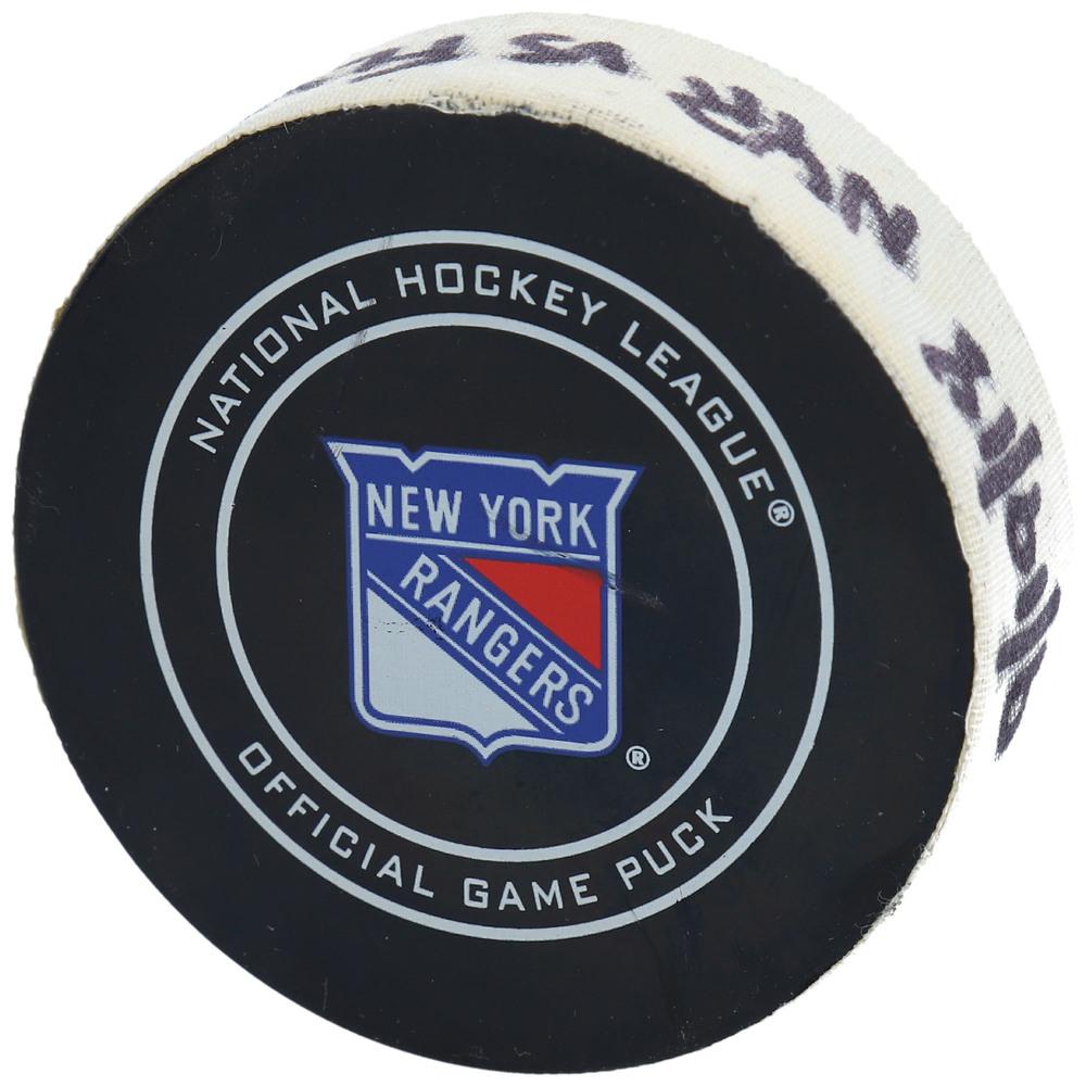 Oskar Lindblom Philadelphia Flyers Game-Used Goal Puck from September 19, 2018 vs. New York Rangers - Second of Two Goals Scored